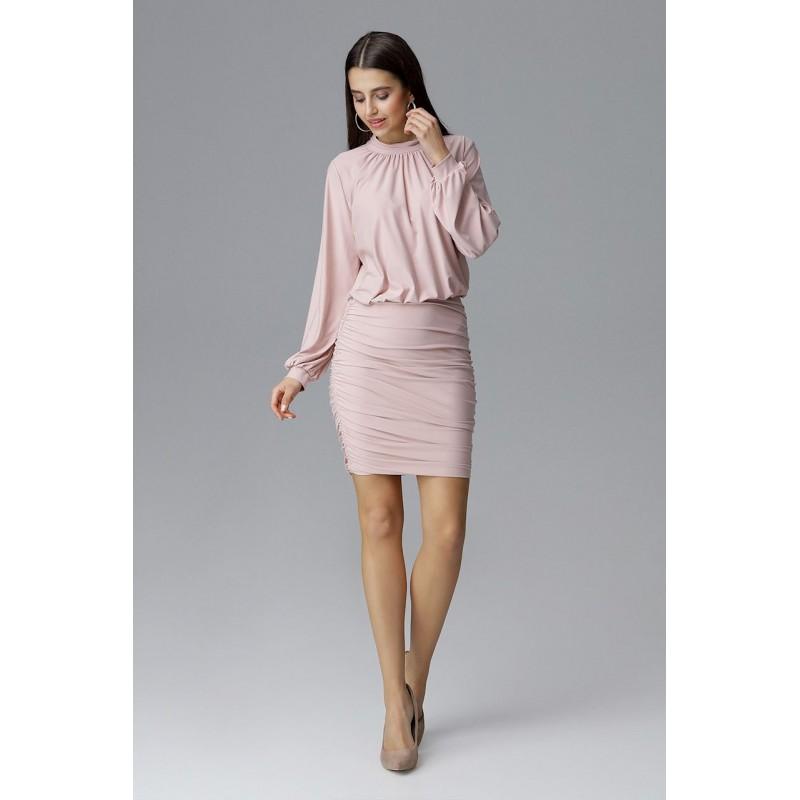 1a25747776cc Světle růžové společenské šaty s dlouhým rukávem