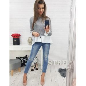 Moderní dámská šedá halenka s imitující košilí prodlouženého střihu