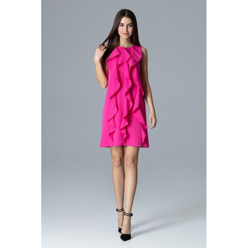 3899115aabf0 Tmavě růžové dámské plesové šaty bez rukávů