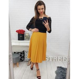 Skládaná dámská sukně hořčicové barvy