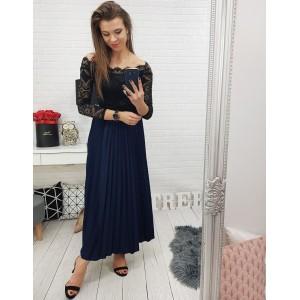 Tmavě modrá dlouhá dámská sukně na ples