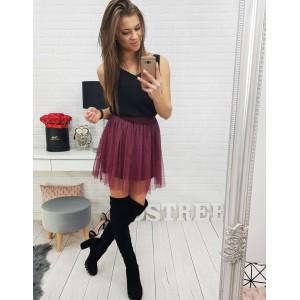 Bordó dámská mini sukně s podšívkou