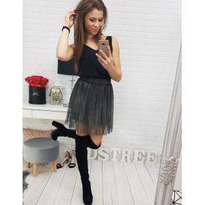 Luxusní mini sukně s podšívkou v šedé barvě