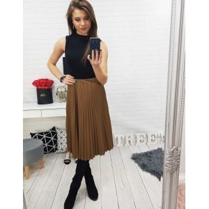 Skládaná dámská sukně hnědé barvy