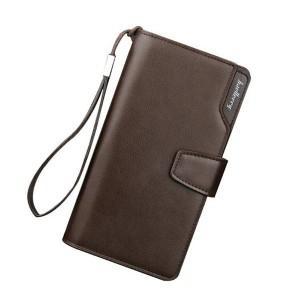 Dlouhá pánská peněženka v hnědé barvě z ekokůže