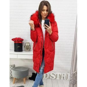 Červená dámská dlouhá zimní bunda s kožešinou