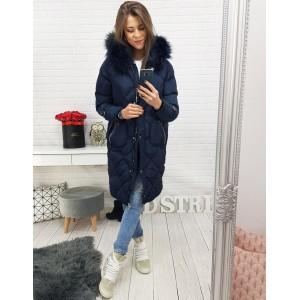 Dámská prošívaná dlouhá zimní bunda s kožešinou v modré barvě 117d93d11ff