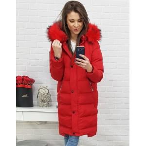 Stylová dámská červená zimní bunda s kožešinou