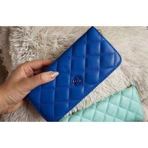 Dámská peněženka v modré barvě se zapínáním na zip