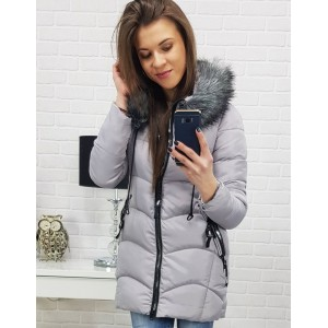 Stylová světle šedá zimní bunda s odnímatelnou kožešinou