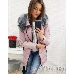 Moderní dámská bunda na zimu v růžové barvě