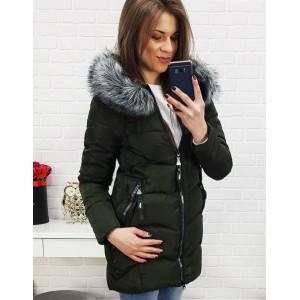 Prošívaná bunda na zimu tmavě zelené barvy pro dámy