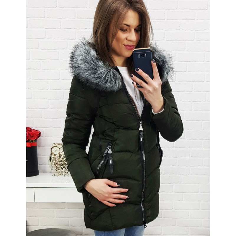 a2323b804f15 Prošívaná bunda na zimu tmavě zelené barvy pro dámy
