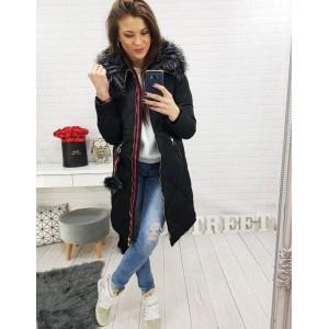 Prodloužená dámská zimní bunda černé barvy