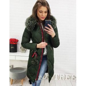 Dlouhá dámská bunda na zimu v tmavě zelené barvě