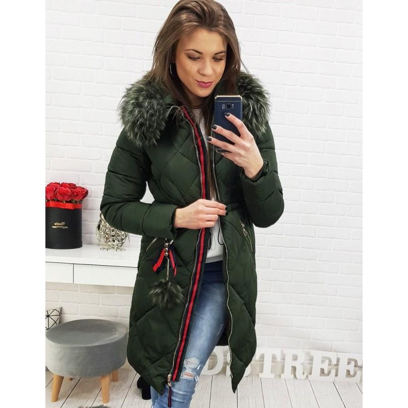 a6bcb4f6c423 Dlouhá dámská bunda na zimu v tmavě zelené barvě
