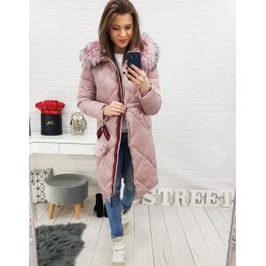 Růžová dámská zimní bunda s prošíváním a kapucí
