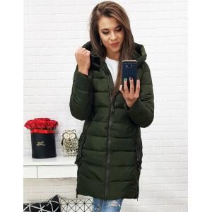 Zimní prošívaná bunda pro dámy v tmavě zelené barvě