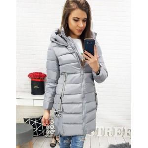Elegantní bunda na zimu šedé barvy pro dámy