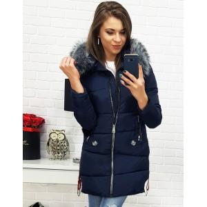 Prošívaná dámská zimní bunda tmavě modré barvy s kožešinou