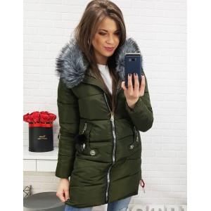 Tmavě zelená zimní bunda s kožešinou na kapuci