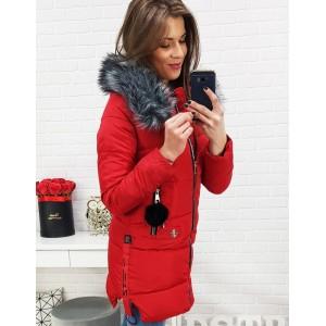 Zimní bunda pro dámy v červené barvě