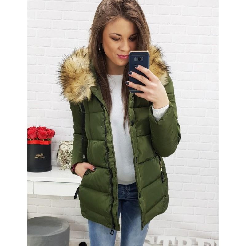 11e42431e400 Zelená dámská prošívaná bunda na zimu s odnímatelnou kožešinou