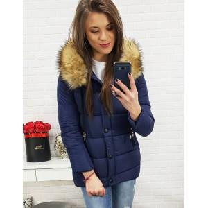 Dámská tmavě modrá bunda na zimu s hustou kožešinou
