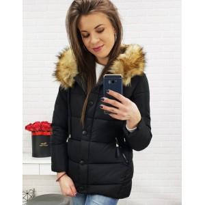 Krátká prošívaná bunda na zimu v černé barvě