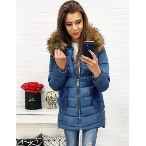 Modrá mírně prodloužená bunda na zimu pro dámy