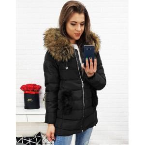Elegantní dámská bunda na zimu v černé barvě