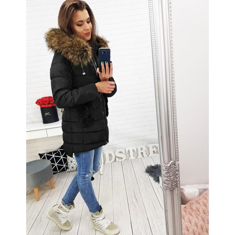 Elegantní dámská bunda na zimu v černé barvě a30f8c94797
