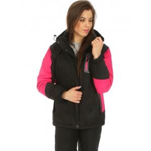 Dámská černá lyžařská bunda s odnímatelnou kapucí