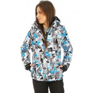 Zimní lyžařská dámská bunda s barevným vzorem