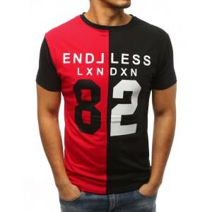 Tričko s potiskem pro muže v černo červené barvě