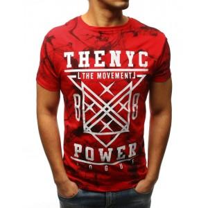 Stylové panské tričko v červené barvě s potiskem