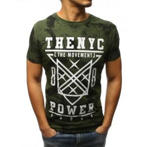 Pánské triko v zelené barvě s potiskem
