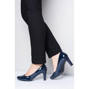 Tmavě modré dámské lakované lodičky na nízkém podpatku