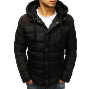 Moderní pánská prošívaná zimní bunda v černé barvě