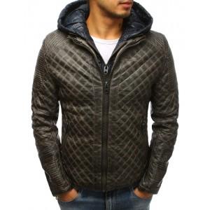 Pánská zimní kožená bunda v hnědé barvě s kapucí