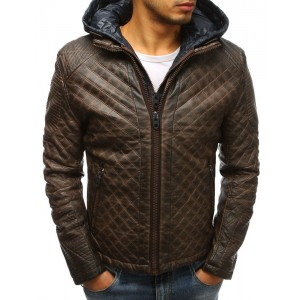 Zateplená pánská kožená bunda v hnědé barvě s kapucí