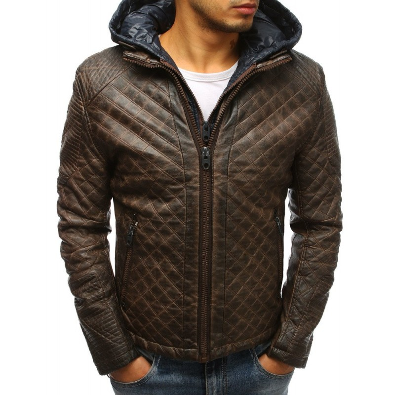 Zateplená pánská kožená bunda v hnědé barvě s kapucí 2cca5ec0879