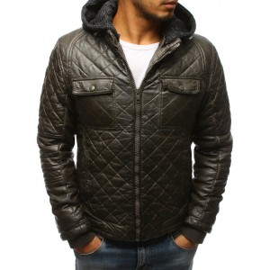 Pánská prošívaná kožená bunda na zimu v tmavozelené barvě s kapucí