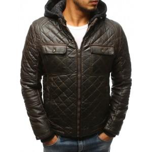 Pánská kožená zateplená bunda v hnědé barvě s kapsami na hrudi
