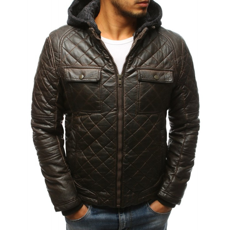 Pánská kožená zateplená bunda v hnědé barvě s kapsami na hrudi 235eeef558