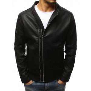 Klasická pánská černá kožená bunda bez kapuce