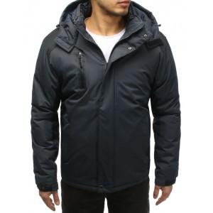 Pánská lyžařská bunda v šedé barvě s kapucí