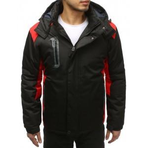 Černá pánská lyžařská bunda s červenými aplikacemi a kapucí