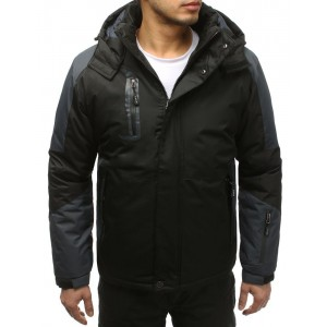 Zateplená lyžařská bunda pro pány v černé barvě s kapsami