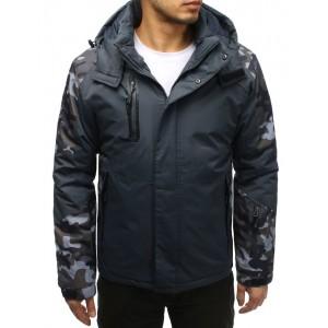 Šedá pánská lyžařská bunda v army stylu